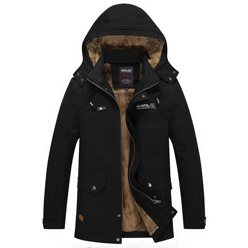 メンズジャケットとコートマンストリートロング冬の綿フリースカジュアル黒のジャケット男性厚い付きオーバーコート Giacche