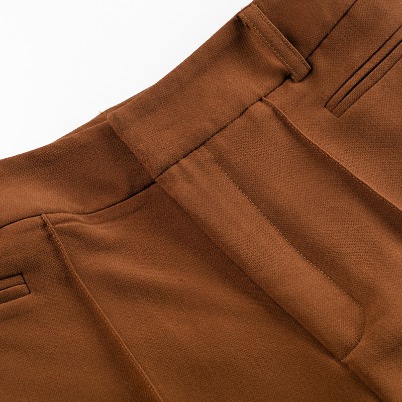 Jambe Taille Printemps Up Large Haute Mode Caramel Couleur Solides De 2018 Nouveaux Pantalons Femmes Zip Vêtements Femelle Pantalon Élégant P1EHwHq