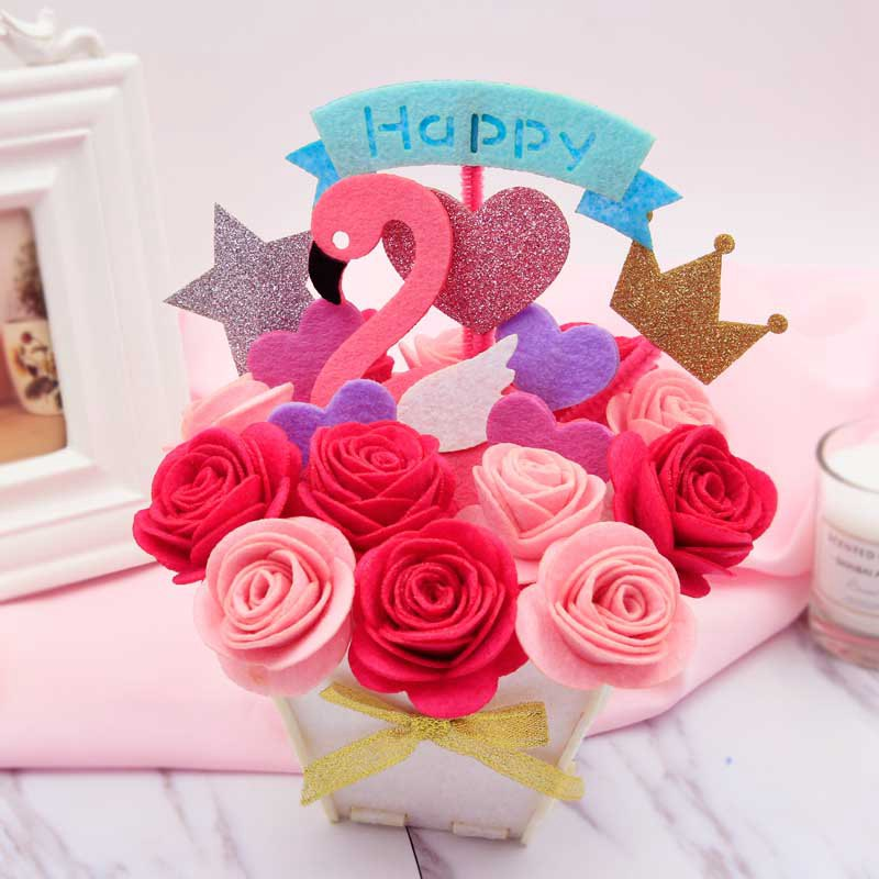 Us 8 26 40 Off Children Easy Diy Flowers Handmade Felt Flower For Bedroom Decoration Kindergarten Manual Work Felt Diy Package In Diy Package From