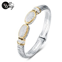UNY Bangle Pave Stone Cable Wire Retro Antique Spring Claps Bangle Beautiful Love Valentine Christmas Gifts Free Ship Bracelets
