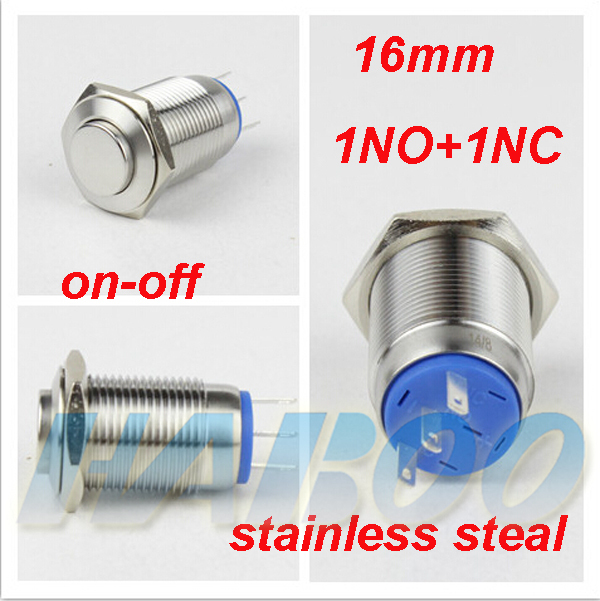 HABOO 16mm ON-OFF stainless steal push button switch high head 1NO+1NC latching switch shipping free