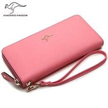 KANGAROO KINGDOM fashion women wallets split leather purse zipper long lady clutch wallet