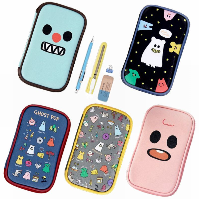 School stationery papelaria pencilcase kawaii PU leather pencil pouch storage bag pen box kawaii gudetama pencil case pokemon