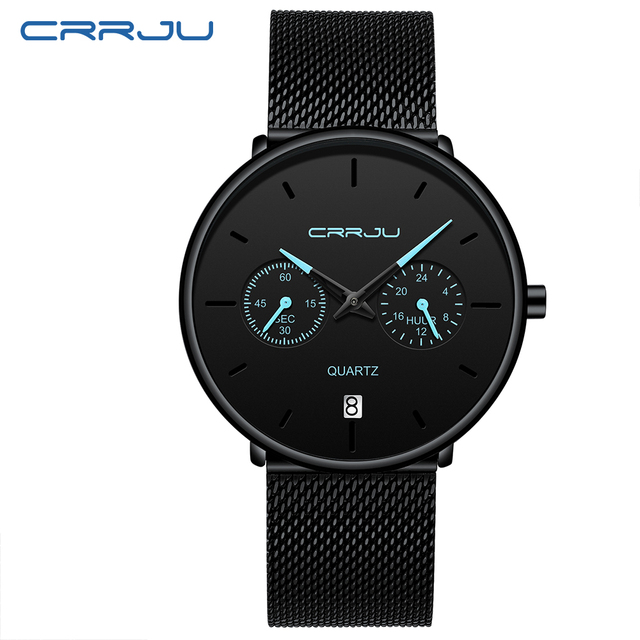 Mens Watches CRRJU Full Steel Casual Waterproof Watch 1