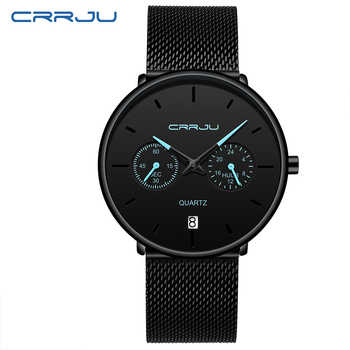 Mens Watches CRRJU Full Steel Casual Waterproof Watch for Man Sport Quartz Watch Men\'s Dress Calendar Watch Relogio Masculino