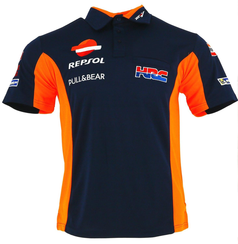 Honda Big Wing Three Button Mens Motocross Motorcycle Polo Shirts