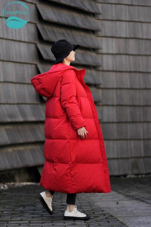 LinenAll women's winter   down     coat  ,linen+cotton red hooded zipper thermal classical thickening   down     coat   outerwear female yijiu