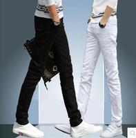 NEW 2017 Indoor Business Man Black White Jeans Cotton Thin Students Straight Leisure Stretch Skinny Pants