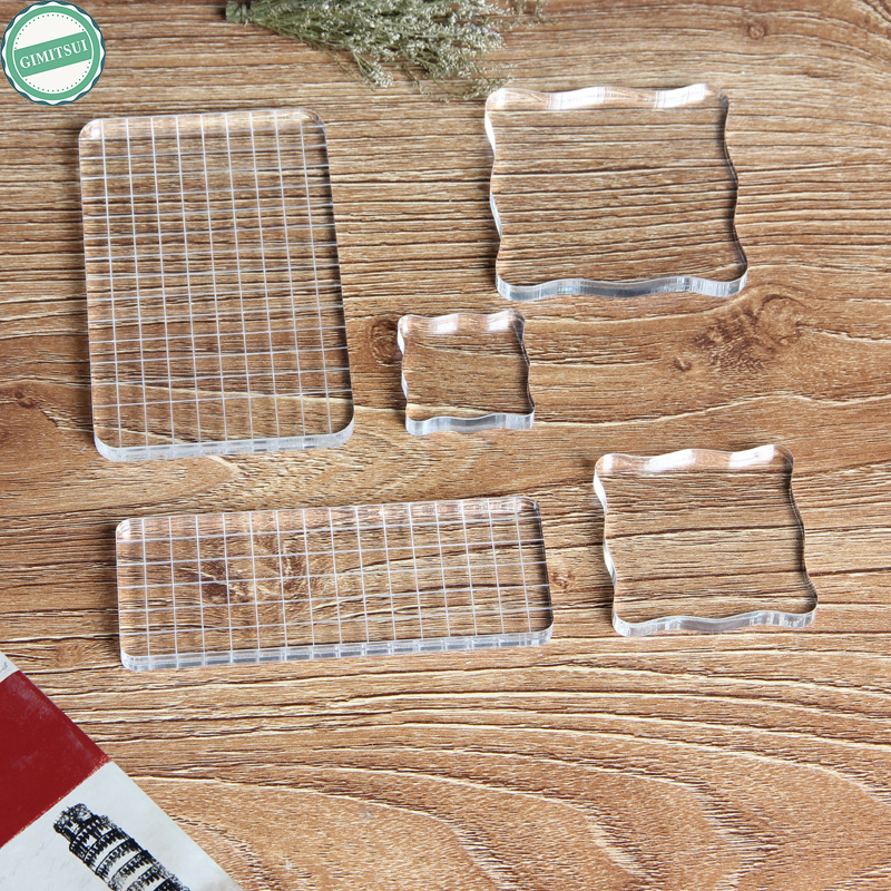 Transparent Clear Acrylic Block Pad for Scrapbooking Color Stamping Grid Blocks Process Tool DIY Diary Photo Album Paper Craft clear acrylic a3a4a5a6 sign display paper card label advertising holders horizontal t stands by magnet sucked on desktop 2pcs