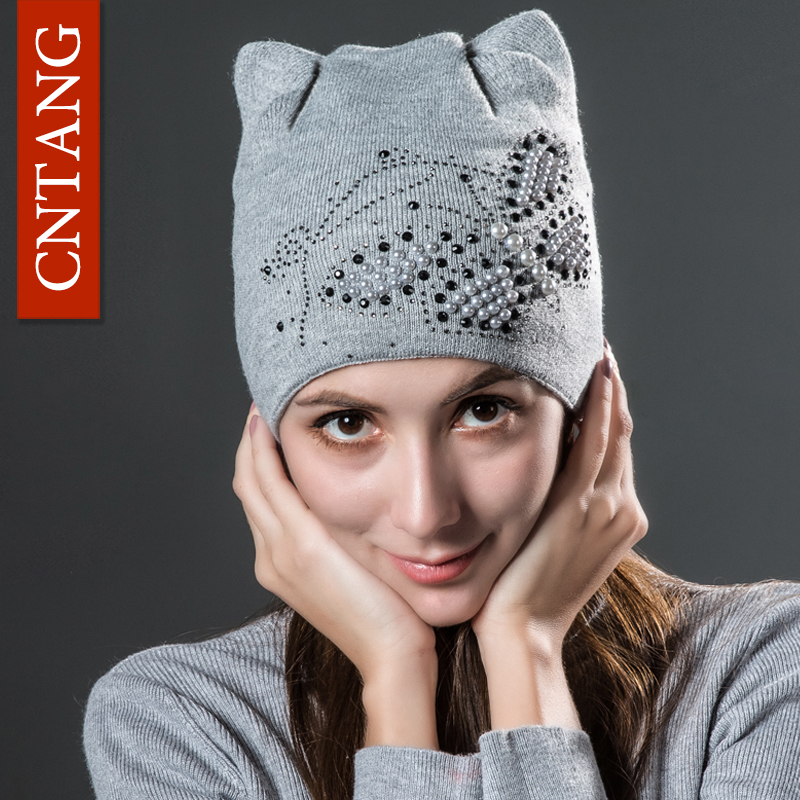 CNTANG Winter Knitted Velvet Warm Hats Cute Cat Ears With Butterfly   Skullies     Beanies   Women Fashion Caps Casual Hat For Female