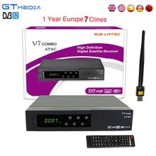 1 Ano Europa 7 Clines Gtmedia V7 Combo DVB-S2 + ATSC Receptor de TV Por Satélite DVB-S2 HD 1080 P apoio PowerVu Youtube + Wifi USB