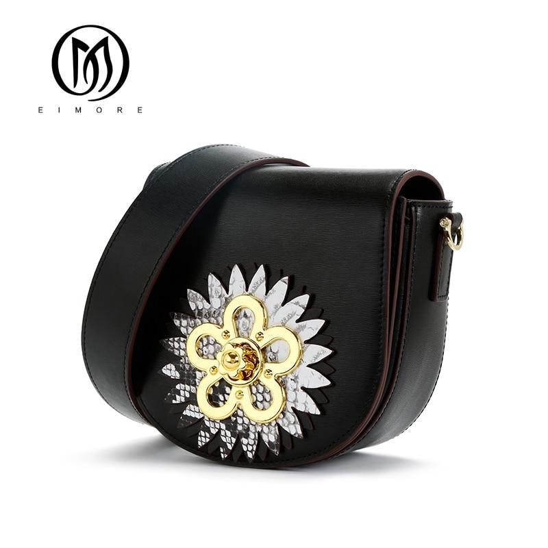 EIMORE Summer Bag Genuine Leather Ladies Meseenger bags Luxury Designer Flower Decoration Small Cossbody Bags For