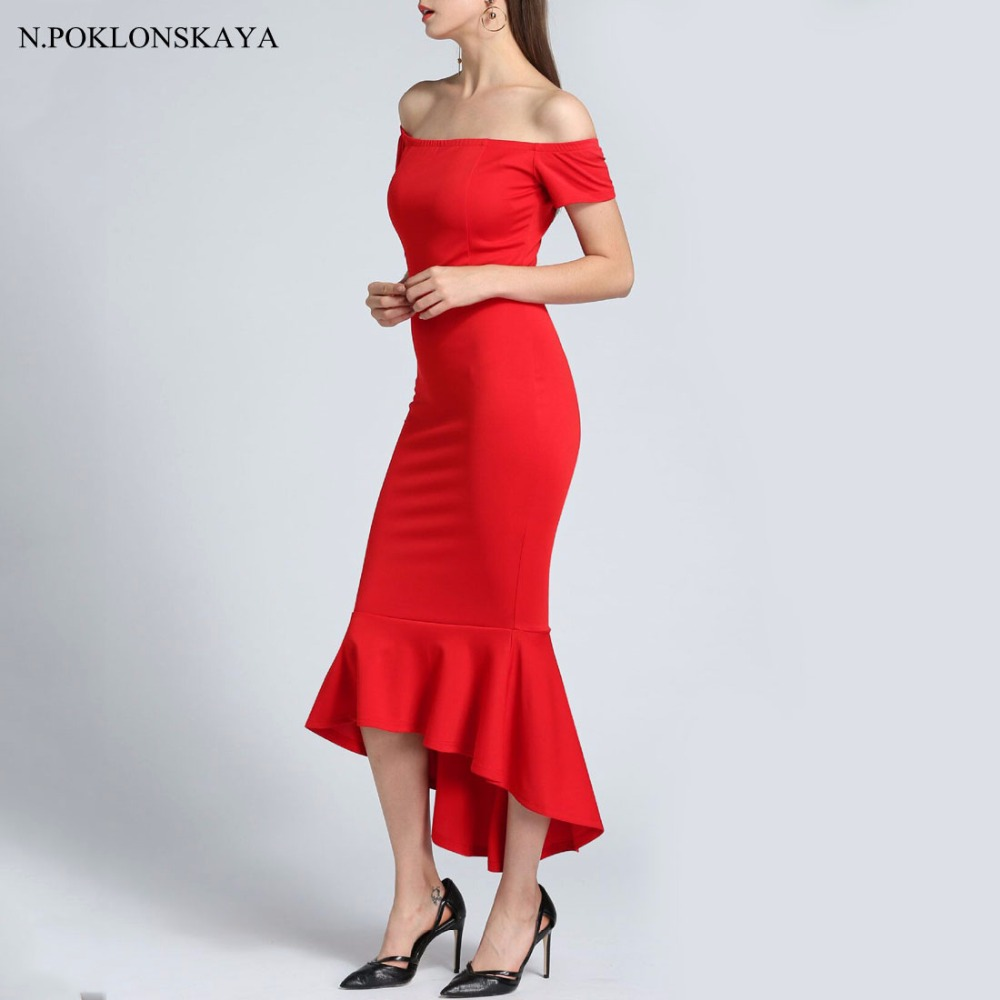 Sexy Bodycon Off Shoulder Party Dress Long Black Red Mermaid Dresses Feminine Elegant Spring Gown 2018 Women Elegant Maxi Dress