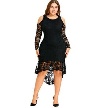 Mirsicas Long Sleeve Mid-Calf Mermaid black spring Dresses
