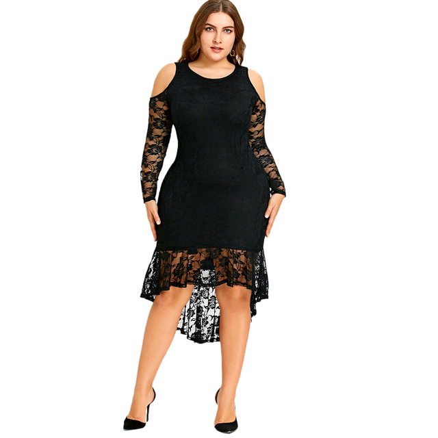 Wipalo Women 2018 New Fashions Plus Size 5XL Cold Shoulder Lace High Low  Hem Dress Vestidos Long Sleeve Mid-Calf Mermaid Dresses 59ad8e988328