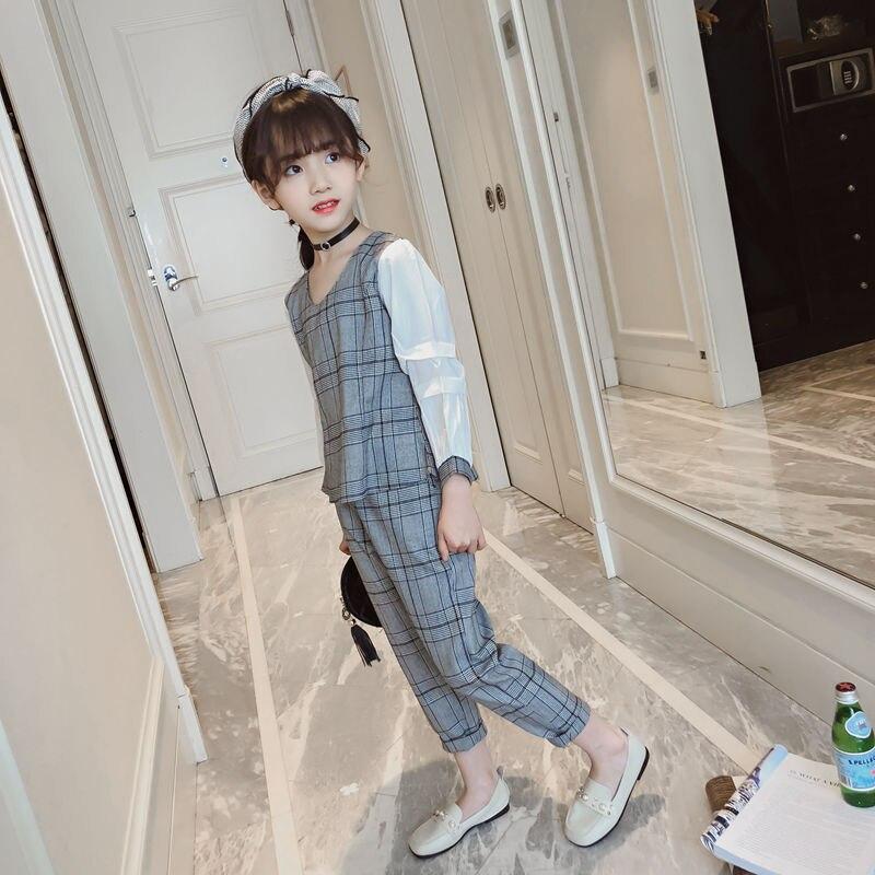 2018 New Fashion Girls Clothing Sets Kids Clothes Suit Children Plaid Long Sleeve Blouse Shirts + Casual Pants  Children Clothes