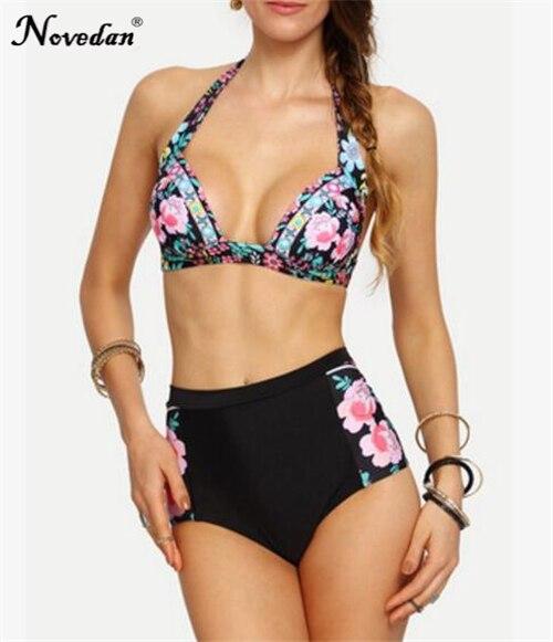 3075e454d4 2018 New Sexy Bikinis Women Swimsuit High Waisted Bathing Suits Swim Set Halter  Push Up Bikini Set Plus Size Swimwear XXXL