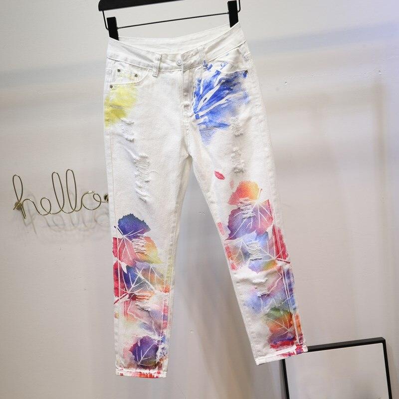 Hole Irregular Print Jeans Women Loose White Pants Casual Personality Painted High Waist Harem Pants