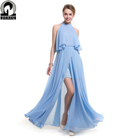 2017 Original design solid color Maxi Dress Sexy Women Long Dresses Sleeveless chiffon hem open dress Summer Party lady Dresses