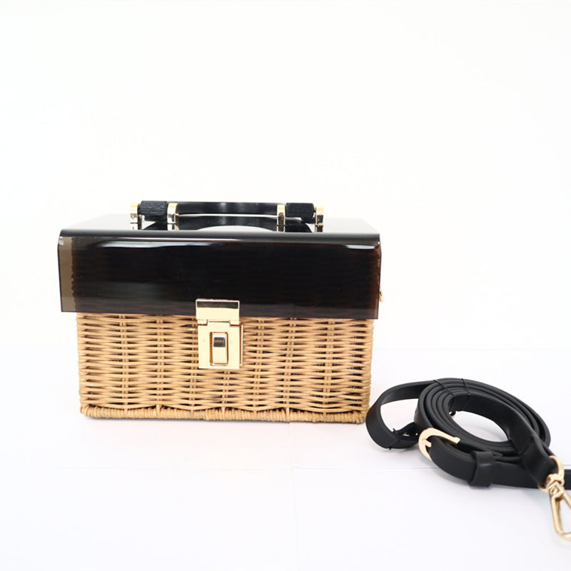 Fashion New Acrylic Flip Straw Braided Bag Wooden Handle Woven Bag Handmade Holiday Travel Rattan Bag