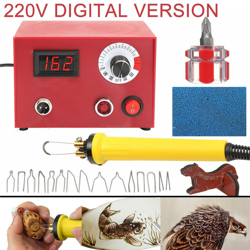 New AC 220V 50W Digital Multifunction Pyrography Machine US Plug With Pyrography Pen Wood Burning Pen Craft Tool Kit Sets