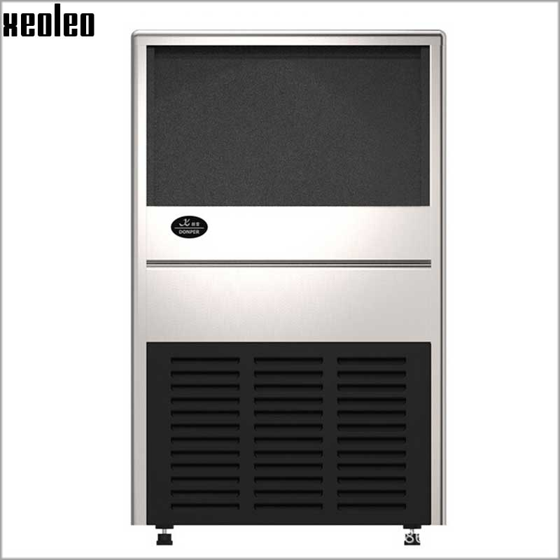 Xeoleo Commercial Ice Maker Stainless Steel Ice Machine 70kg/24h Auto Clear Ice Make Machine Make Cube Ice For Bubble Tea/Coffee цены