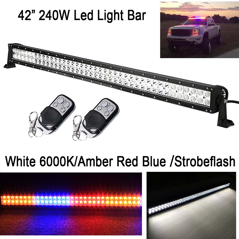 "42"" 240W Amber Blue Red /White 6000K StrobeFlash Led Straight Work Light Bar Signal Warning Lamp for Jeep offroad ATV Ford 4x4WD"