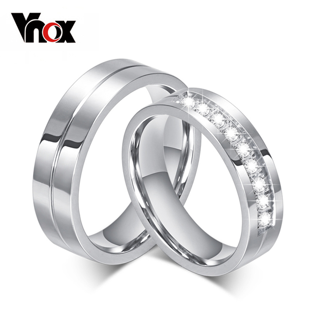 10pcs/lots Wholesale 6mm Wedding Rings Stainless Steel Couple Ring CZ Stone Prov