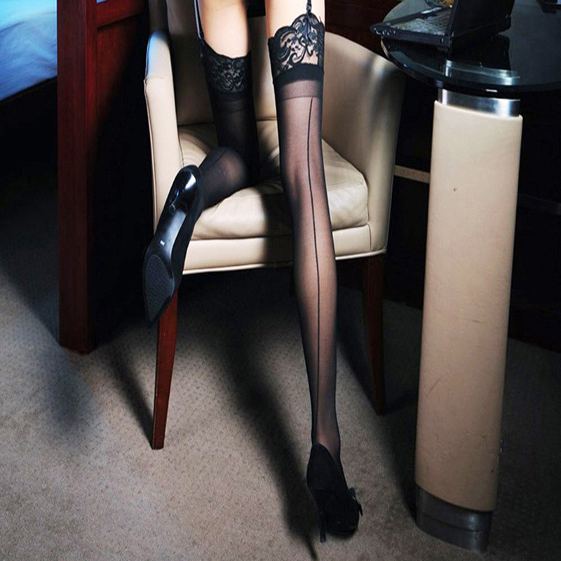 Sexy Long Hosiery Lace Top Knee High Sexy Stockings Cuban Heel Back Seam Nylon Stockings For Garters Sexy Lingerie For Women