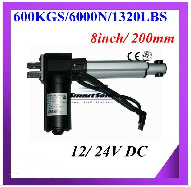 Free shipping DC 12V/ 24V, 200 mm/ 8inch stroke, 6000N/600KG/1320LBS load linear actuator free shipping 24v dc mig welding wire feeder motor single drive 1pcs