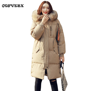 2020 winter new hooded fur collar jackets female ribbon bread warm white duck down jacket ladies medium long thicken coat women
