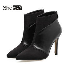 Купить с кэшбэком New Spring Autumn Women Ankle Boots Stiletto Thin High Heels Pointed Toe Faux Leather Zipper Style Ankle Boots Sexy Womens Boots