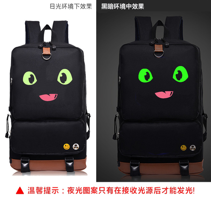 anime How to Train Your Dragon  Cosplay Backpack Cartoon Canvas Student Schoolbag Unisex Travel Bags Noctilucent backpack hiccup how to train your dragon