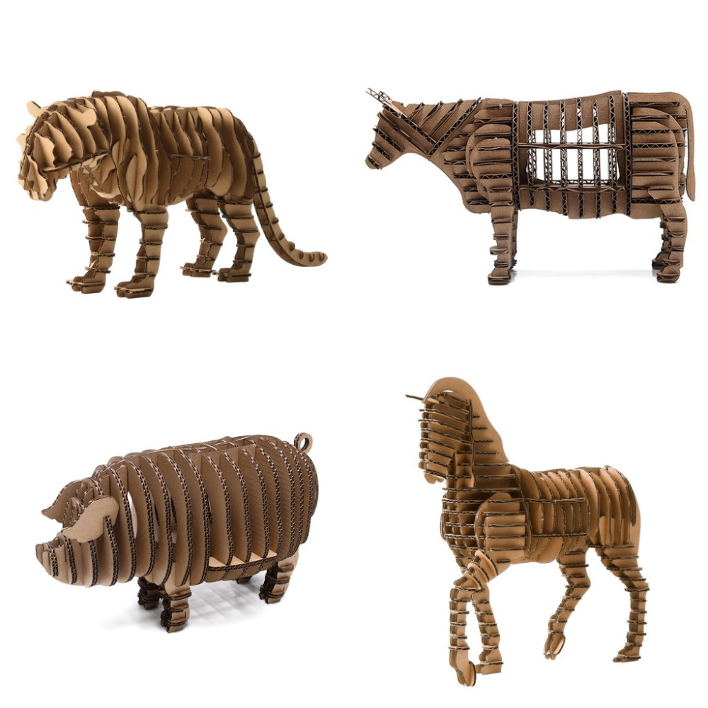 3D Animal Model Paper Jigsaw Puzzle Tiger Horse Bull Pig DIY Papercarft Cardboard Papermaker Gift Pack for Kids Intelligent Toy metal puzzle diy 5pcs set tank model 3d model jigsaw metal scorpio tank tiger tank 3d model toy puzzle educational toys