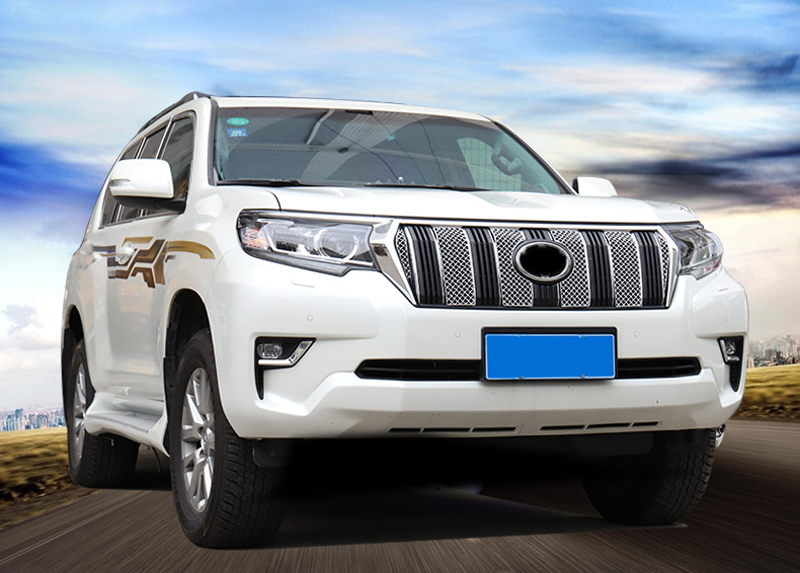 Stainless Steel Exterior Front Radiator Grille Honeycomb Frame Cover Trim 6 PCS For Toyota Land Cruiser Prado J150 2018 exterior car styling metal silver luggage carrier roof rack rails bar trim for toyota land cruiser prado j150 2010 2018