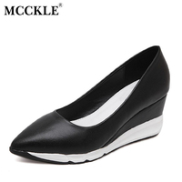 MCCKLE Woman Fashion Wedges Shoes Platform Leopard Comfortable Point Toe Slip On Casual Sexy Vogue Shoes