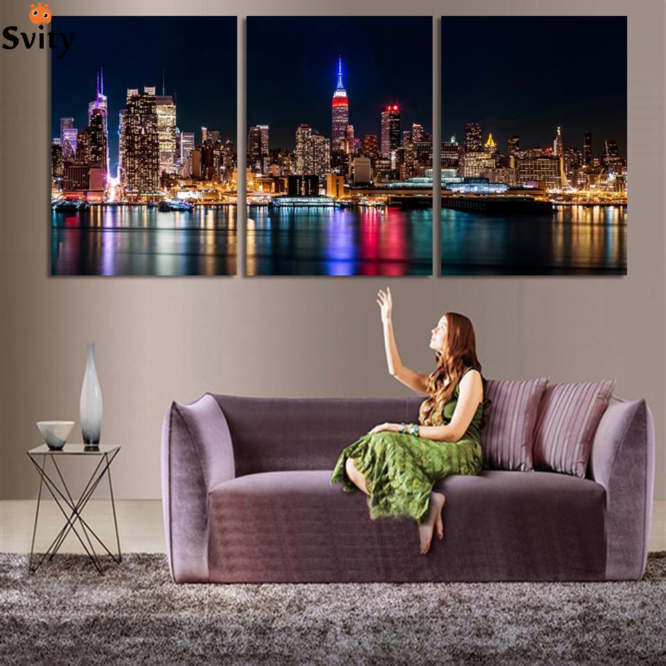 Free Shipping 3 Piece Wall Art Set City Hall Night Lights Beside River Wall Decoration P ...