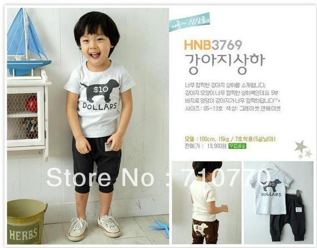 HOT 2013 boy/girl dog print clothing sets baby summer suits kids soft cotton clothes high quality wears t-shirt+short pants