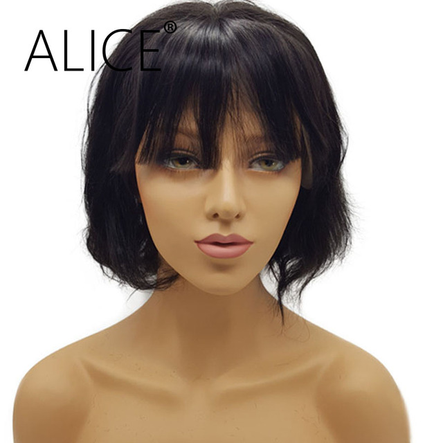 ALICE 150 Density Short Lace Front Wigs With Bangs 10-12'' Remy Hair Brazilian Human Hair Bob Wigs For Black Women Natural Black