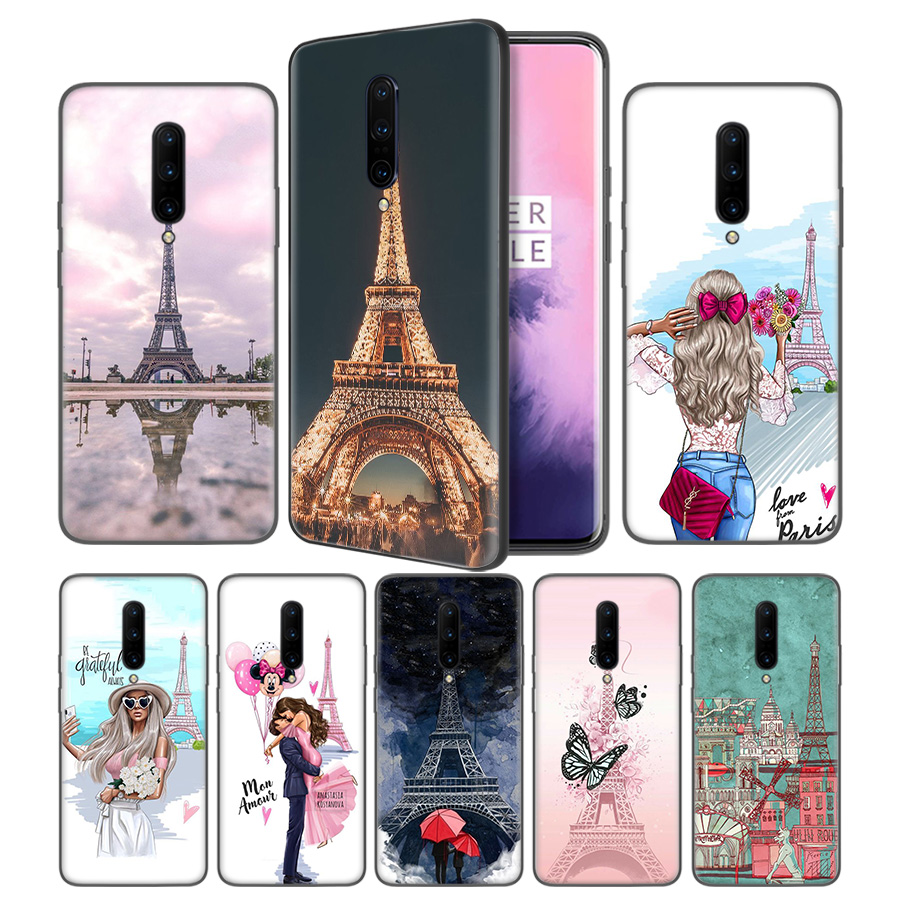 Eiffel Tower Postcard Drawing Soft Black Silicone Case Cover for font b OnePlus b font 6