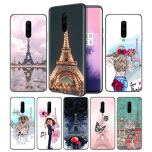Eiffel Tower Postcard Drawing Soft Black Silicone Case Cover for OnePlus 6 6T 7 Pro 5G Ultra-thin TPU Phone Back Protective