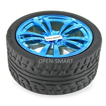 4PCS Wearable Rubber Wheels for TT Motor 65 * 27mm Rubber Wheel Tightly Fit with the motor for Arduino Smart Car Beautiful Blue