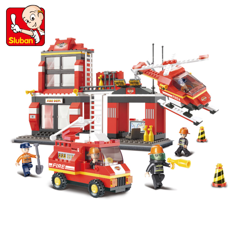 Sluban Building Blocks City Fire Station Truck Helicopter Firefighter Minifigure Learning Education toys Compatible with Lego