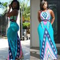 Western Style Hot Summer Sexy Retro Bandage Long Maxi Dresses Beach Club Wear Bodycon Women Dress