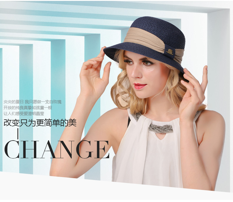 c4d80937e125d ... Summer Beach Panama Wide Brim Sun Cap Foldable Female Outside Hat.  B-3141. Suit for 56-58cm head circumference. Hat hight  About 11cm
