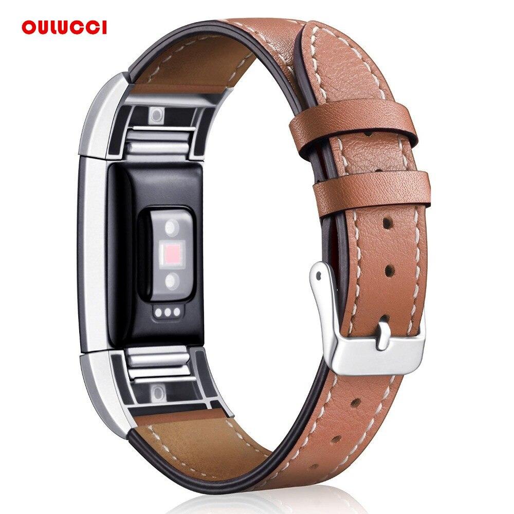 Vervanging Fitbit Lading 2 Bands Lederen Bandjes Band Verwisselbare Smart Fitness Horloge Band Met Roestvrij Frame voor Lading 2