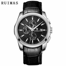 Reloj Hombre 2018 Men Business Automatic Mechanical Watch Classic Luxury Wrist Watches Genuine Leather Strap RUIMAS Male Clock