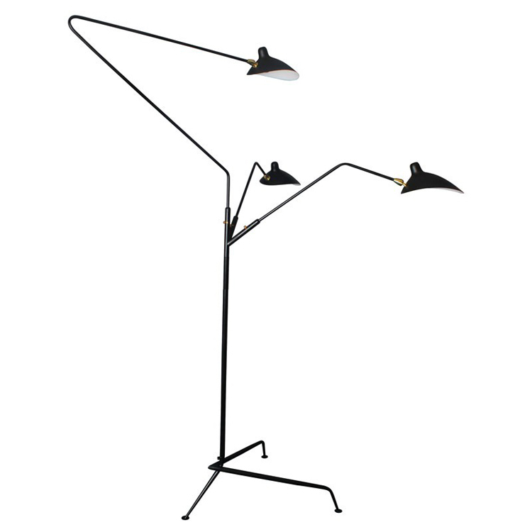 Standing lamp 3 arms by serge mouille floor light Serge mouille three arm floor lamp