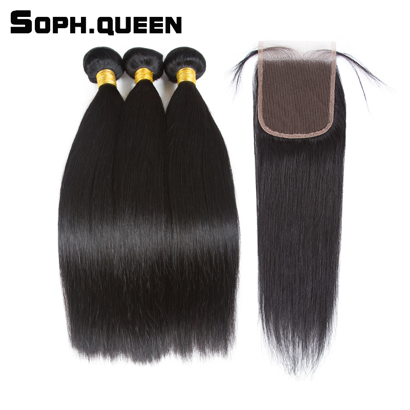 Soph queen Peruvian Hair Straight 3 Bundles With Closure Natural Color Remy Hair 100% Human Hair Extensions