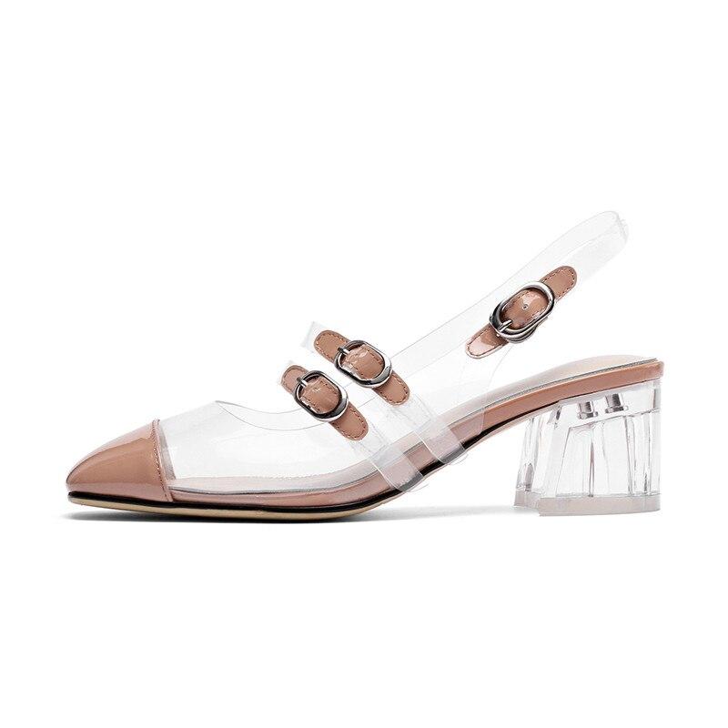 Rome Chaussures Transparent Carrée Soirée Beige Hasp Sandales De Talons D'été Chunky Cristal black Travail À Sexy Tête Mode Femmes zq6An5